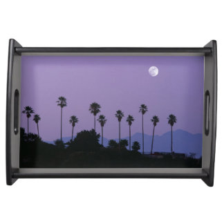 Moon over palm trees at dusk, Hollywood Serving Tray