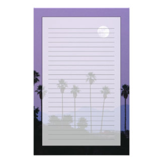 Moon over palm trees at dusk, Hollywood Stationery