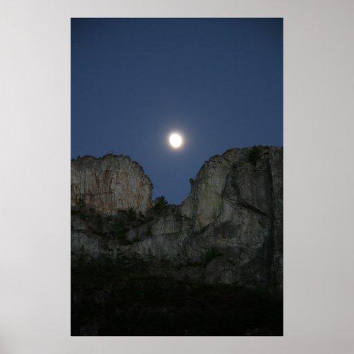 Moon Over Seneca Rock, West Virginia Posters