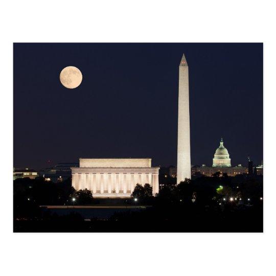 Moon over Washington DC Postcard