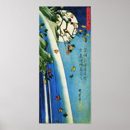 Moon Over Waterfall Hiroshige Japanese Fine Art Poster