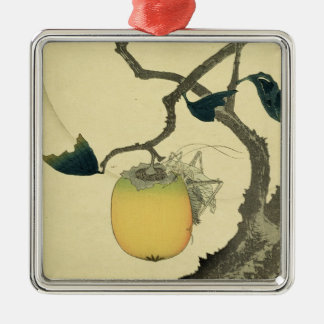 Moon, Persimmon and Grasshopper, 1807 Christmas Ornament