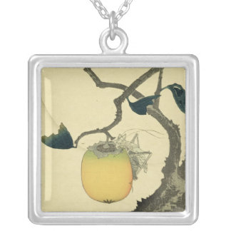 Moon, Persimmon and Grasshopper, 1807 Silver Plated Necklace