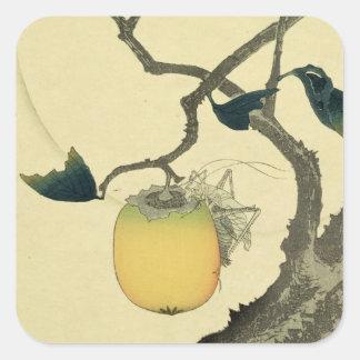 Moon, Persimmon and Grasshopper, 1807 Square Sticker
