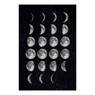 Moon Phases art Poster