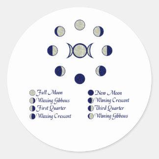 Moon Phases Round Sticker