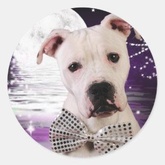 Moon puppy round sticker