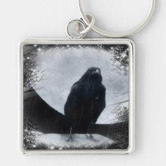 Moon Raven Key Ring