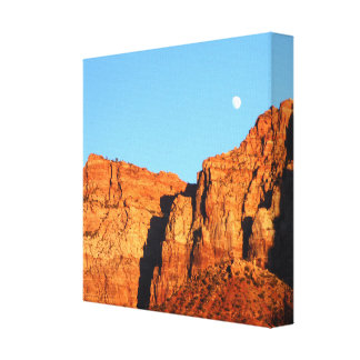"""Moon, Red Rocks at Sunset Wrapped Canvas 12"""" x 12"""" Canvas Print"""