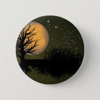 Moon Rise ~ Full Moonrise Tree & Night Sky 6 Cm Round Badge