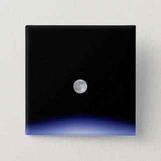 Moon rise over Earth 15 Cm Square Badge