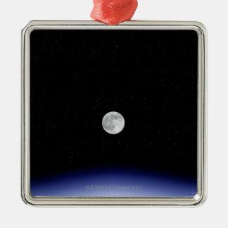 Moon rise over Earth Silver-Colored Square Decoration