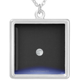 Moon rise over Earth Silver Plated Necklace