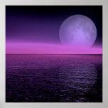 moon rise pink haze poster