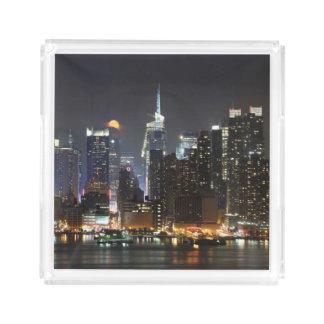 Moon rises over midtown New York. Acrylic Tray
