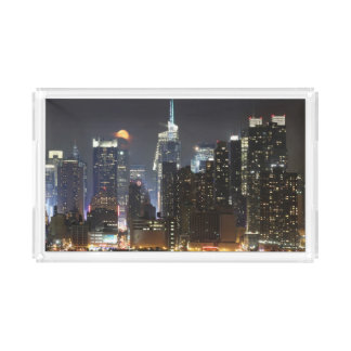 Moon rises over midtown New York. Acrylic Tray