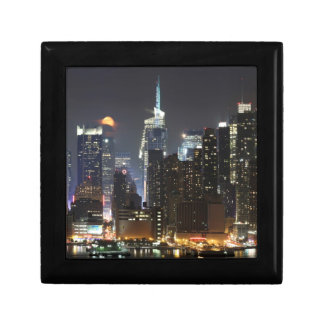 Moon rises over midtown New York. Gift Box