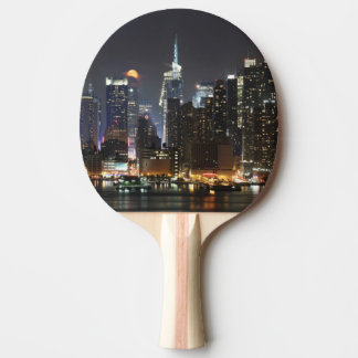 Moon rises over midtown New York. Ping Pong Paddle