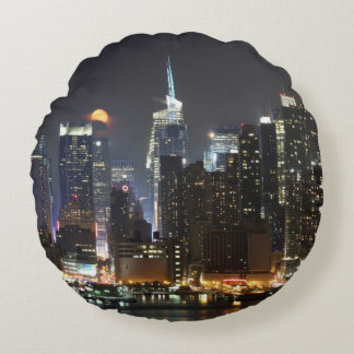 Moon rises over midtown New York. Round Cushion