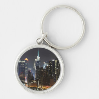 Moon rises over midtown New York. Silver-Colored Round Key Ring