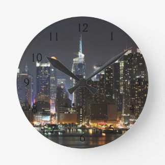 Moon rises over midtown New York. Wall Clock