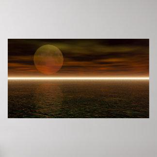 Moon Rising Aquarium Background Print