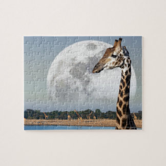 Moon rising over a group of Giraffe in Etosha Jigsaw Puzzle