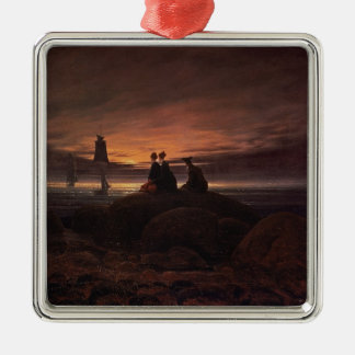 Moon Rising Over the Sea, 1822 (oil on canvas) Silver-Colored Square Decoration