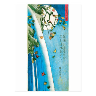 Moon Seen through Maple Leaves and Waterfall Postcard