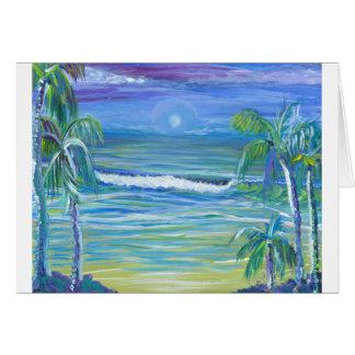 moon set beach greeting card