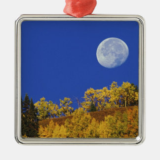 Moon setting at sunrise, Gunnison National Silver-Colored Square Decoration