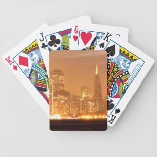 Moon setting over San Francisco on hazy December Bicycle Playing Cards