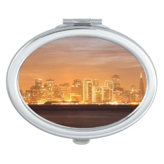 Moon setting over San Francisco on hazy December Compact Mirrors