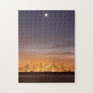 Moon setting over San Francisco on hazy December Jigsaw Puzzle
