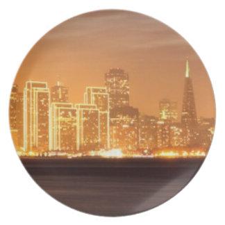 Moon setting over San Francisco on hazy December Plate