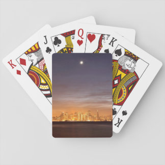 Moon setting over San Francisco on hazy December Playing Cards