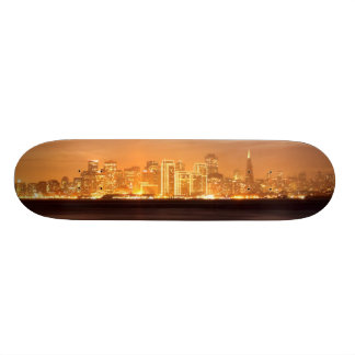 Moon setting over San Francisco on hazy December Skateboard Decks