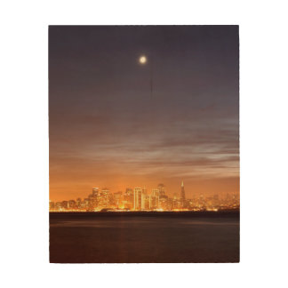 Moon setting over San Francisco on hazy December Wood Print