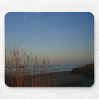 Moon shining over beach mouse pad