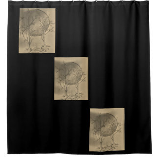 moon shower curtain black