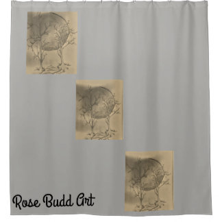 moon shower curtain grey