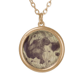 Moon Space Astronomy Round Pendant Necklace