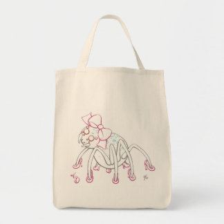 Moon Spider wearing a pink bow and heels Tote Bag