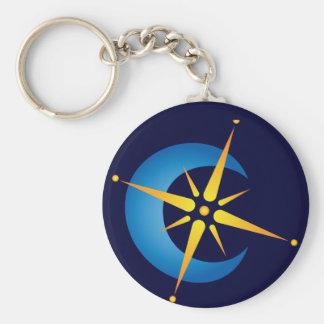 Moon & Star Basic Round Button Key Ring