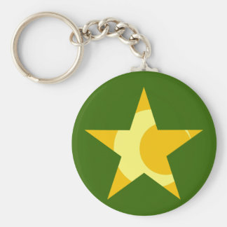 Moon star five-serrate moon star Pentagon pentacle Basic Round Button Key Ring