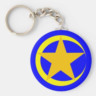 Moon star five-serrate moon star Pentagon pentacle Basic Round Button Key Ring