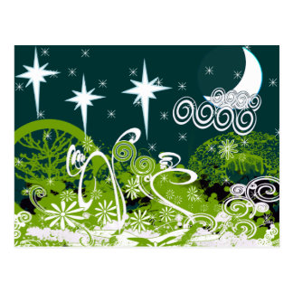 Moon Star Tree Paint Splat Postcard