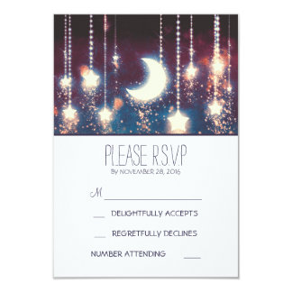 moon stars and string of lights wedding RSVP cards 9 Cm X 13 Cm Invitation Card