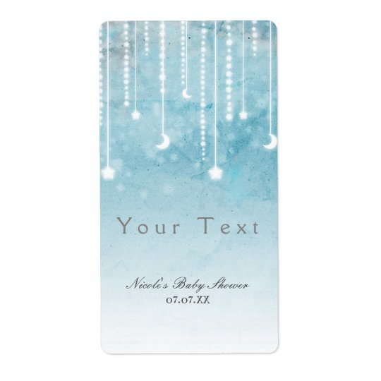 Moon & Stars Celestial Baby Shower Label