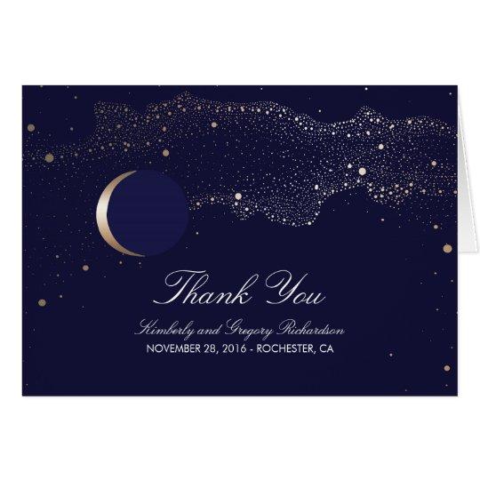Moon Stars Enchanted Night Navy Wedding Thank You